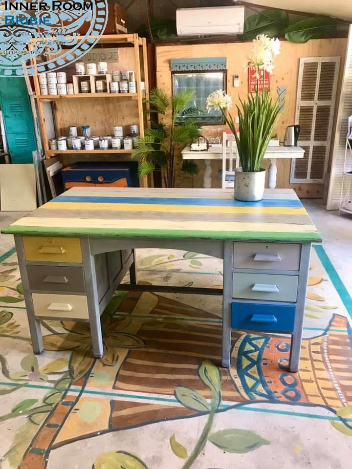 The winning colour combination of Annie Sloan Chalk Paint applied to this rustic desk at Bribie Island's popular furniture paint shop Inner Room Bribie in Bongaree Village.