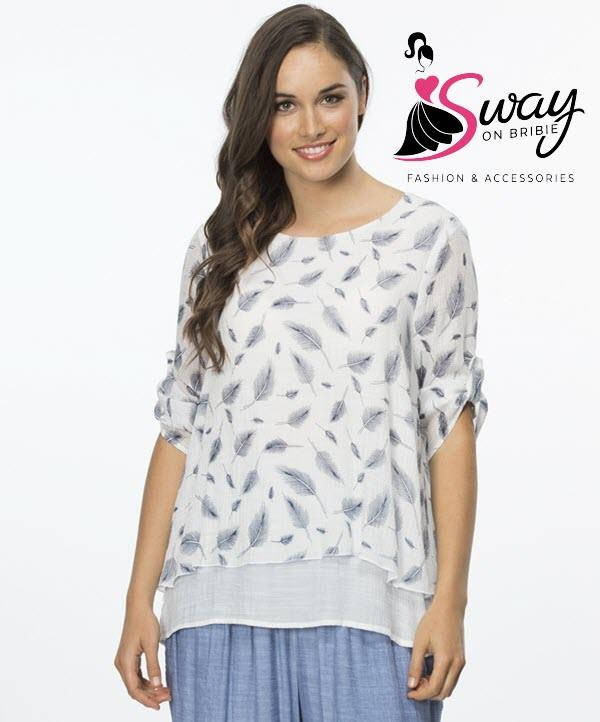 Sway On Bribie Island Moreton Bay Queensland 4507 Womens Fashion Clothes Jewellery Accessories Clarity Leaf Print Top